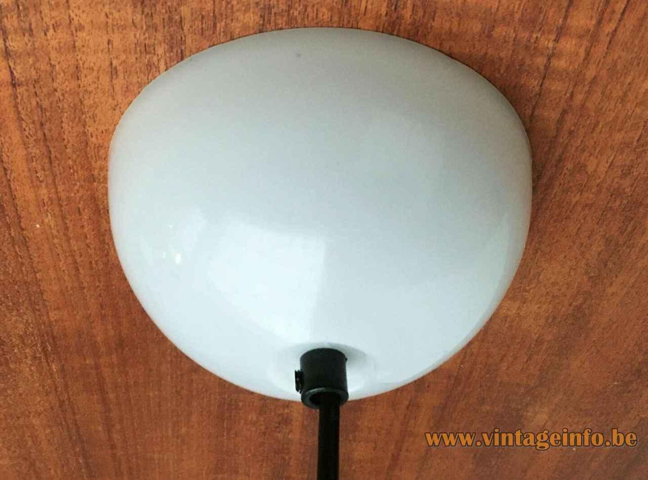 Harveiluce Elpis pendant lamp round white acrylic canopy 1960s 1970s Harvey Guzzini Italy