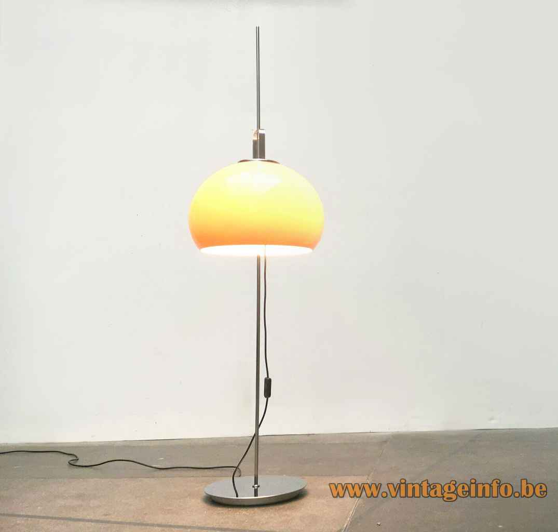 Harveiluce Lucerna floor lamp round chrome base long rod brown acrylic lampshade Harvey Guzzini Italy 1960s