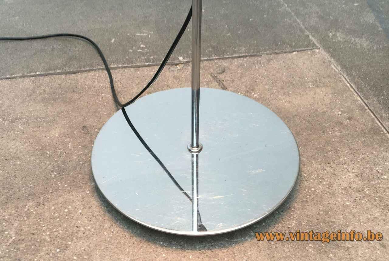 Harveiluce Lucerna floor lamp round chrome base 1966 design Harvey Guzzini Italy 1960s 1970s
