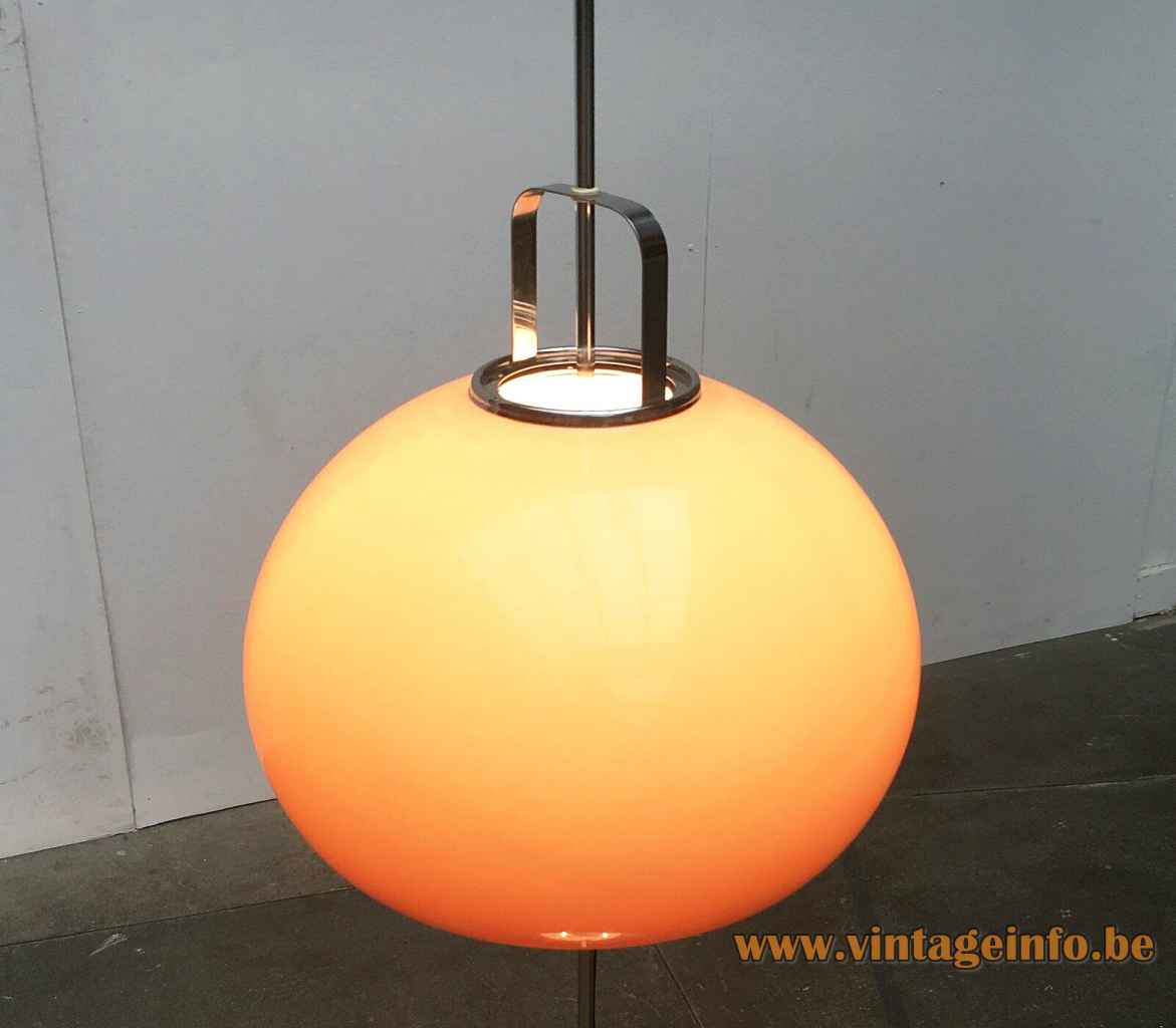 Harveiluce Lucerna floor lamp brown acrylic lampshade 1966 design Harvey Guzzini Italy 1960s 1970s