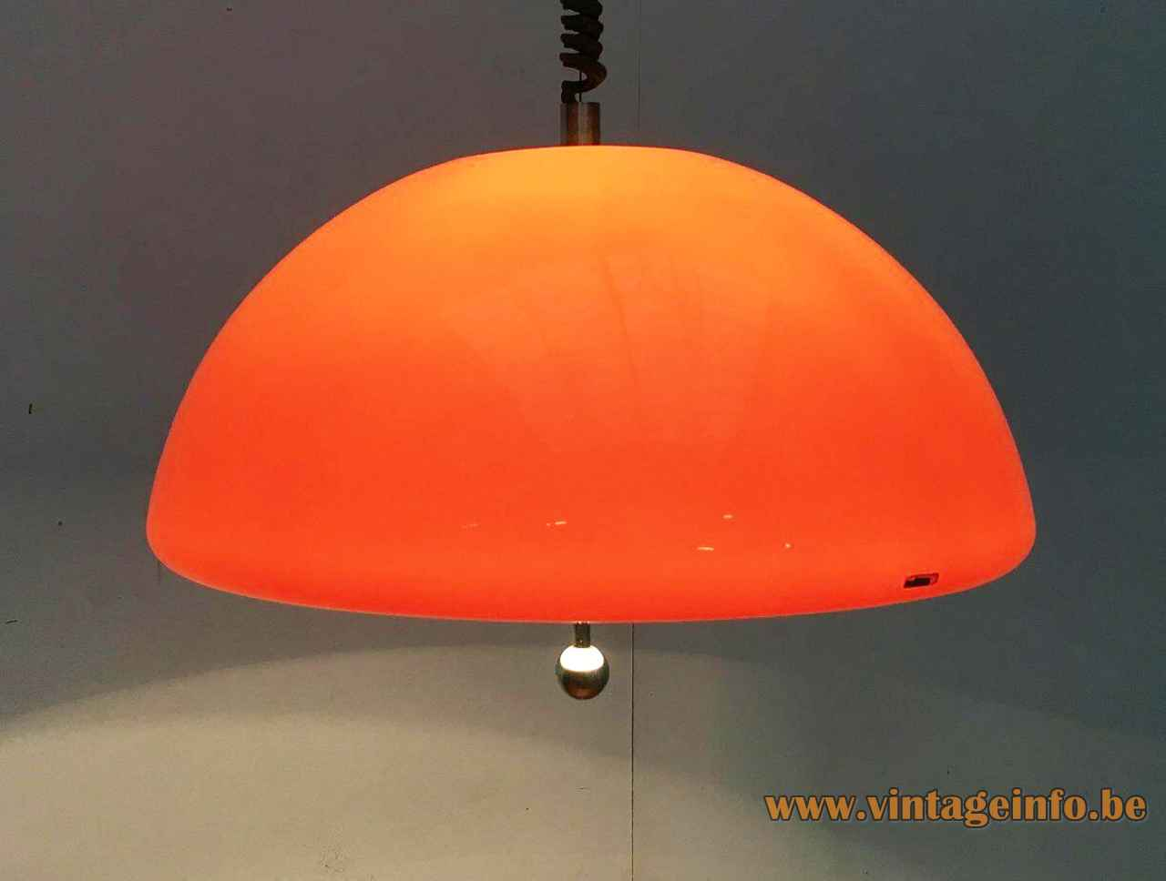 Harvey Guzzini Cabras pendant lamp round orange acrylic lampshade chrome ball handle 1960s 1970s iGuzzini Italy