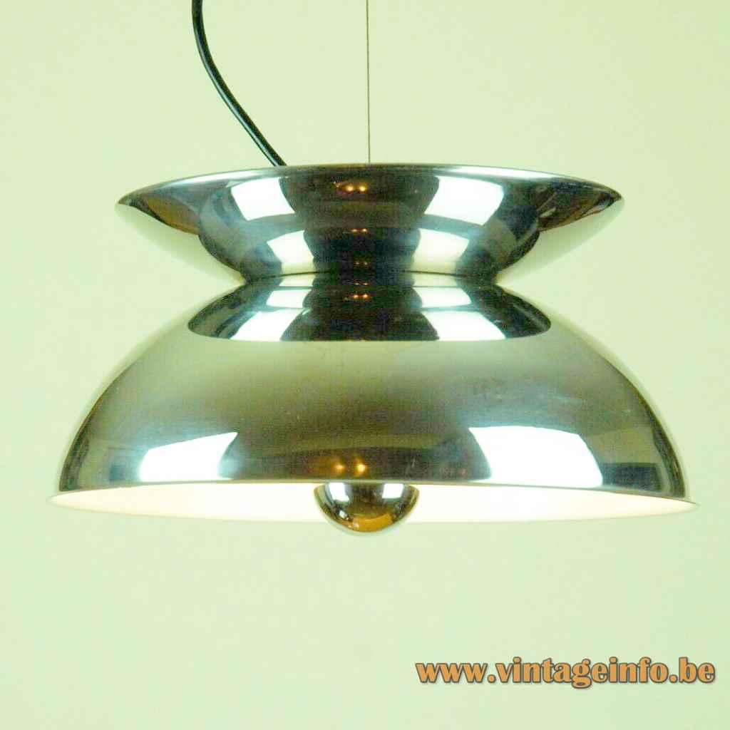 Harvey Guzzini Concentrica pendant lamp 2 chrome half round shells lampshade 1960s 1970s IGuzzini Italy