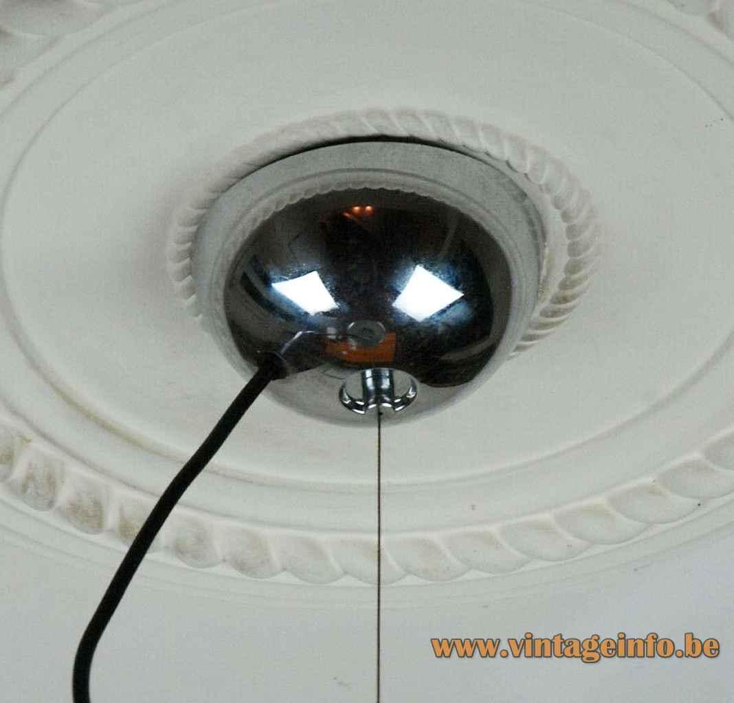 Harvey Guzzini Concentrica pendant lamp 2 chrome half round shells lampshade 1960s 1970s IGuzzini Italy canopy