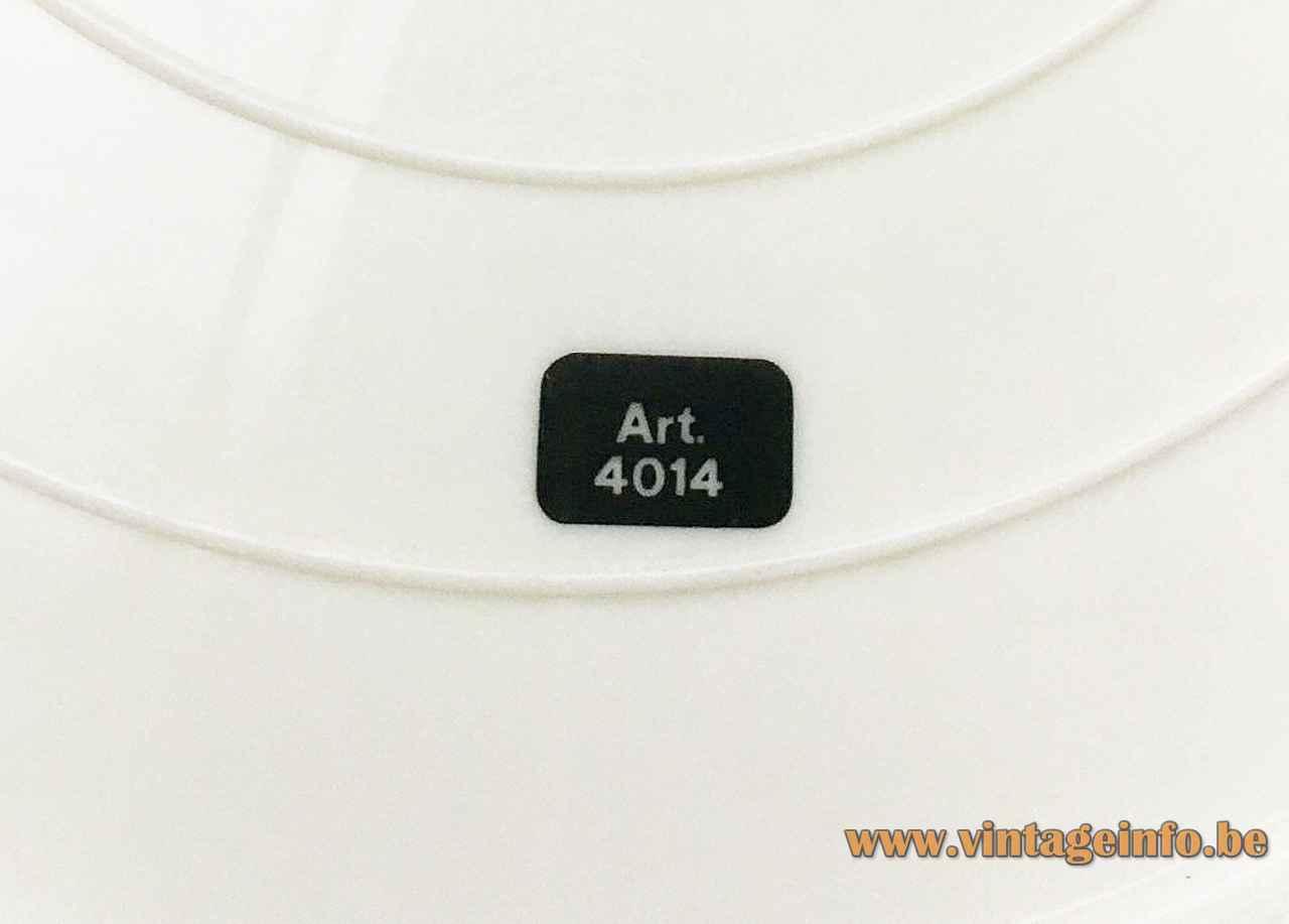 Harvey Guzzini Duetto table lamp white plastic bottom base black 4014 label 1970s Italy