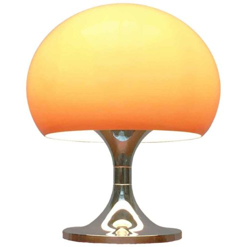 Harvey Guzzini Duetto table lamp conical round chrome base brown acrylic mushroom globe lampshade 1970s Italy