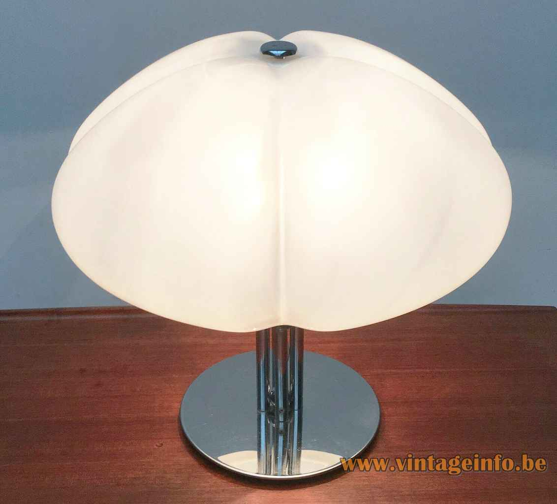 Harvey Guzzini Quadrifoglio table lamp round chrome base white acyrlic lampshade 1960s 1970s Italy model: 4000