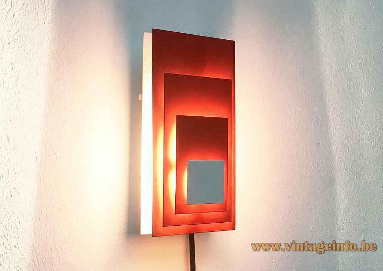 Hillebrand wall lamp 8578 rectangular orange & white painted metal lampshade 1970s Germany E14 lamp socket