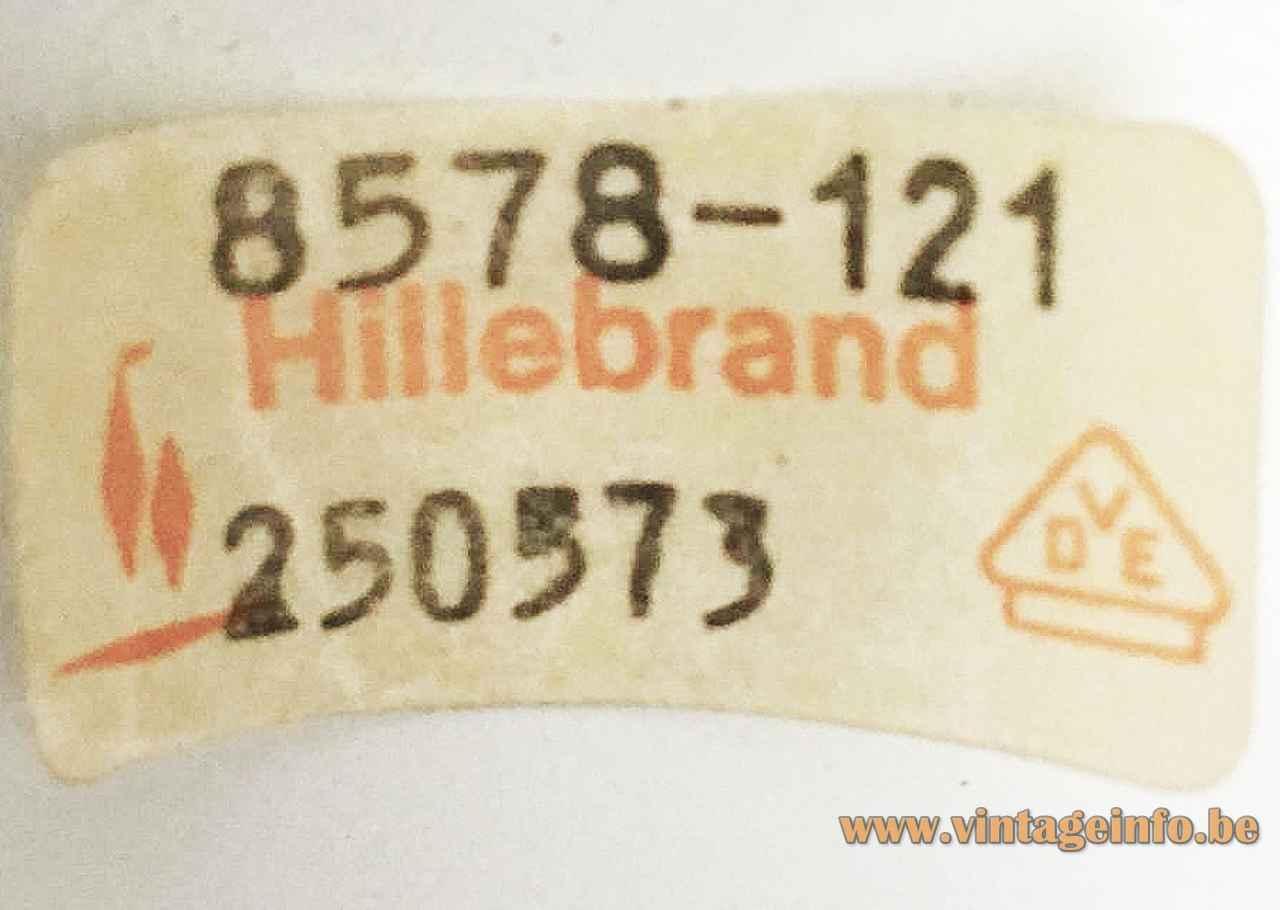 Hillebrand wall lamp 8578 rectangular orange & white metal lampshade 1970s Germany paper label 8578-121