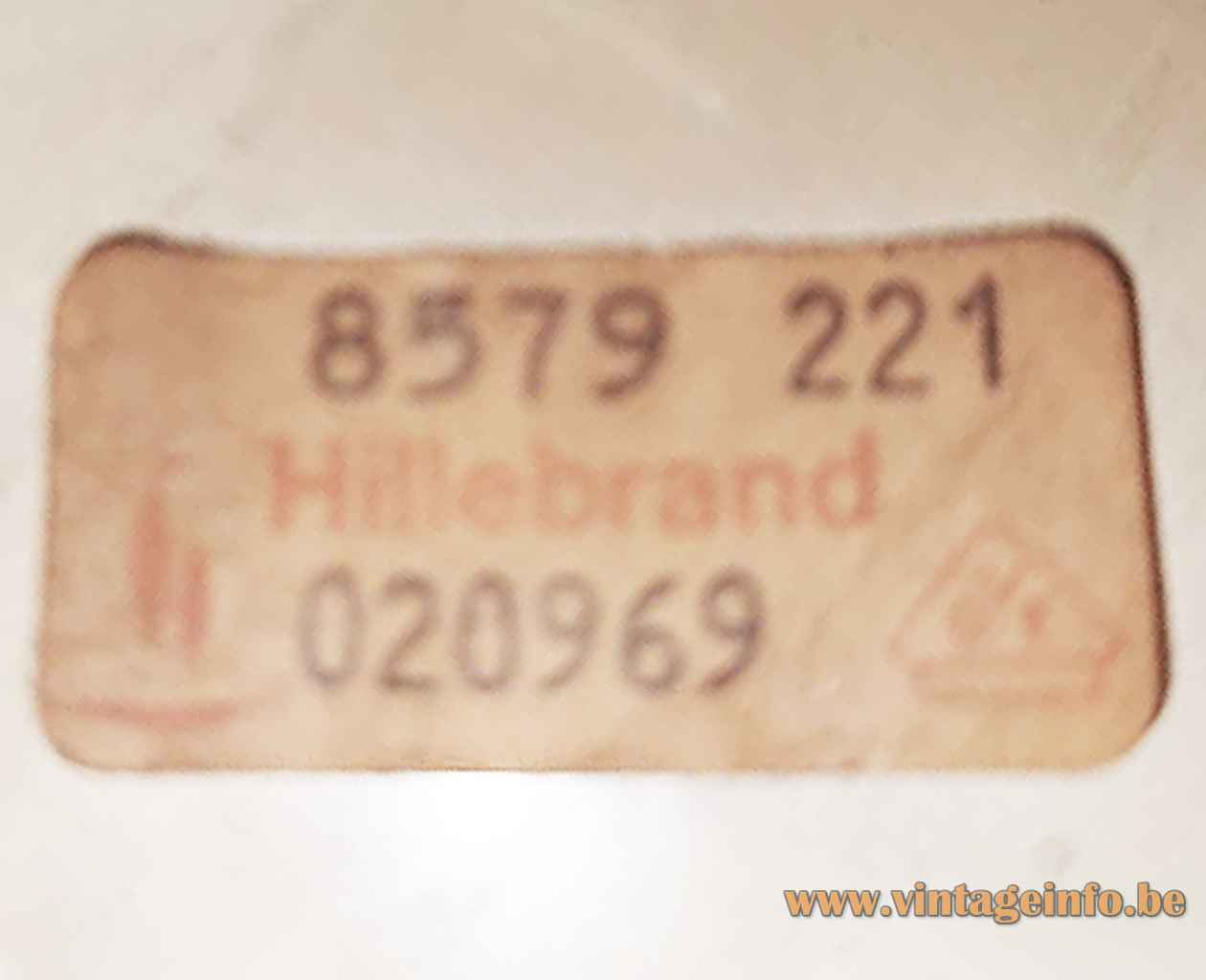 Hillebrand wall lamp 8579 square orange & white metal lampshade 1970s Germany paper label 8579-221