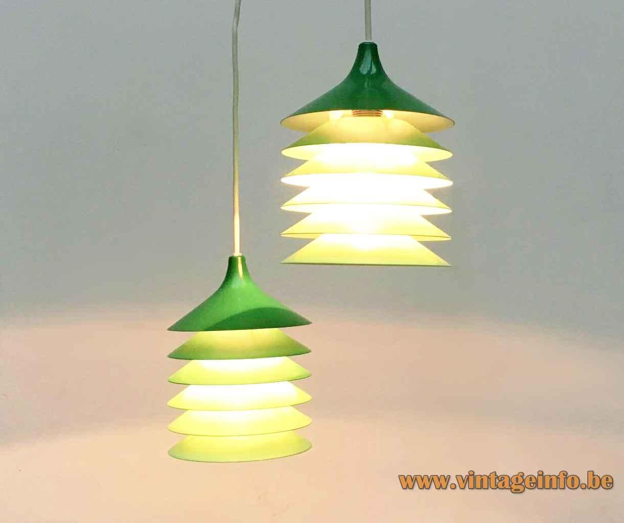 IKEA Duett pendant lamp green layerd aluminium discs lampshades 1983 design: Bent Gantzel Boysen E14 socket