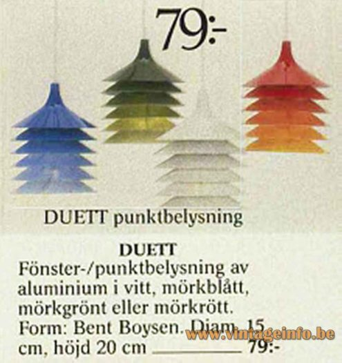 IKEA Duett pendant lamp 1983 catalogue picture design: Bent Gantzel Boysen