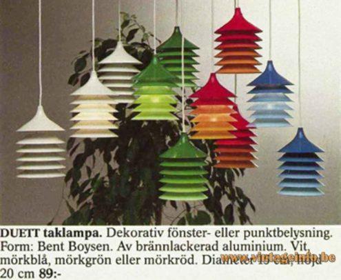 IKEA Duett pendant lamp 1984 catalogue picture design: Bent Gantzel Boysen