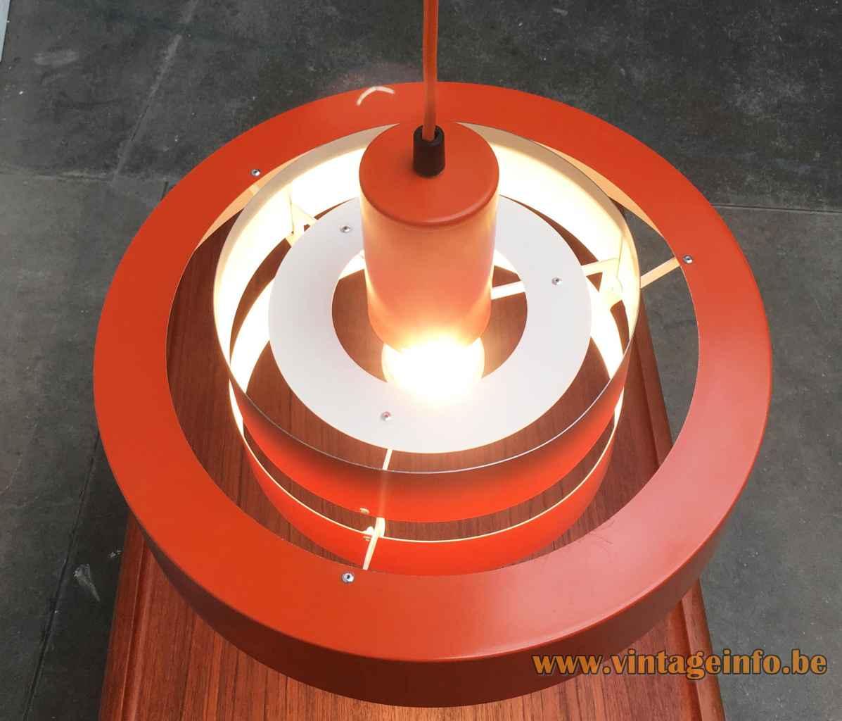 Jo Hammerborg Equator pendant lamp white metal rings lampshade Fog & Morup Denmark E27 socket 1960s 1970s