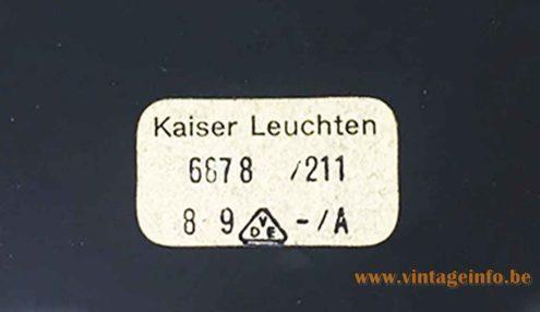 Kaiser Leuchten desk lamp 6878 rectangular paper label 1960s Klaus Hempel design Germany 1970s