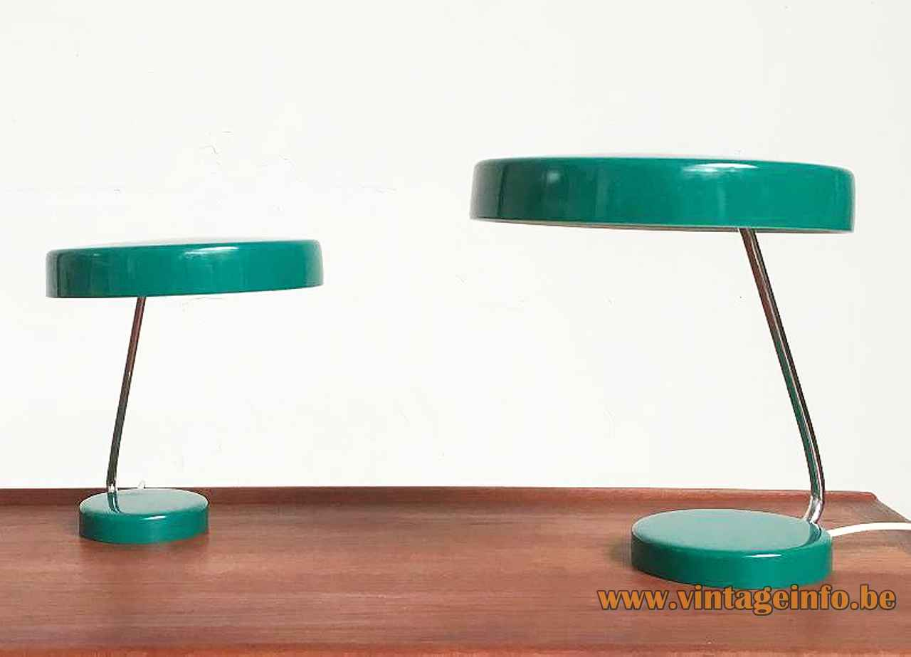 Kaiser Leuchten desk lamp 6658 round green base curved chrome rod mushroom lampshade 1960s 1970s Germany