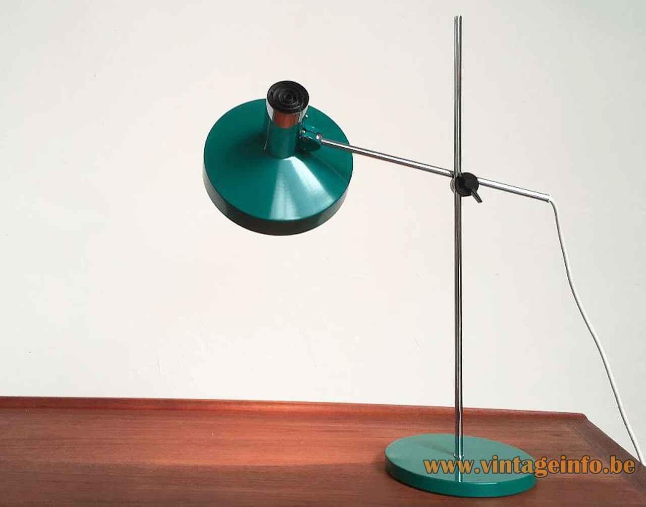 Kaiser Leuchten desk lamp 6857 round green base & adjustable lampshade chrome rods 1960s 1970s Germany