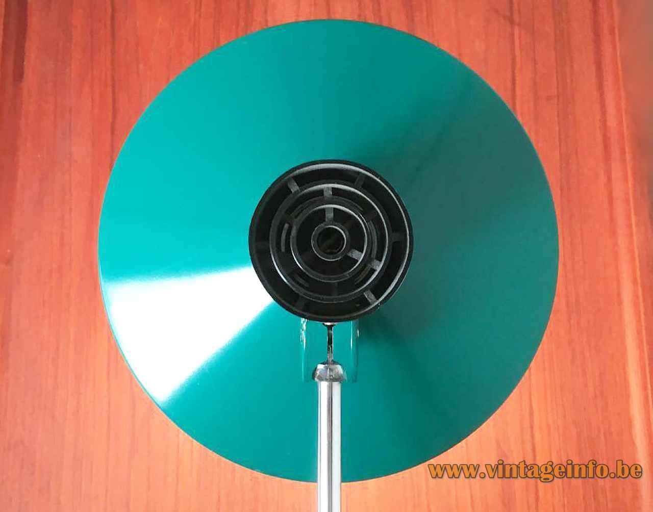 Kaiser Leuchten desk lamp 6857 round green lampshade black plastic grid chrome rod 1960s 1970s Germany