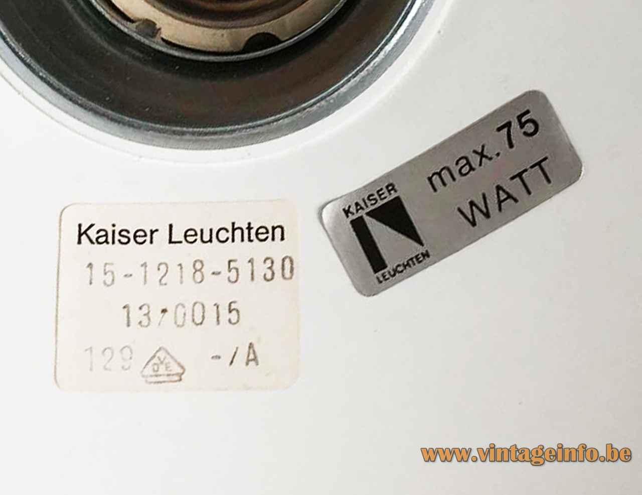 Kaiser Leuchten desk lamp 6857 white paper label 15-1218-5130 max 75 watt 1960s 1970s Germany