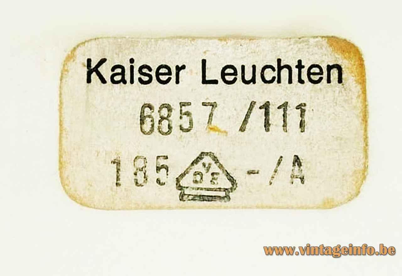 Kaiser Leuchten desk lamp 6857 white paper label 6857/111 1960s 1970s Germany