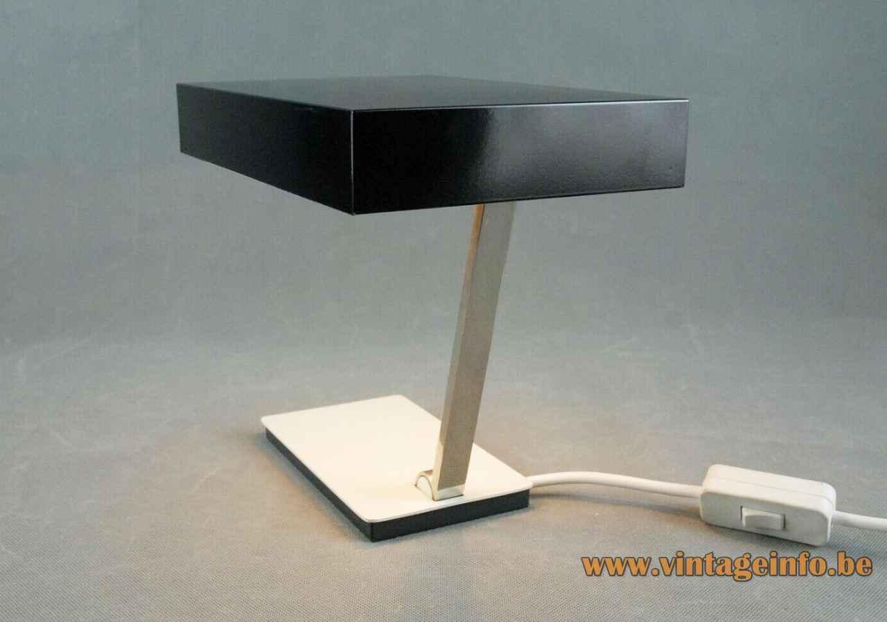 Kaiser Leuchten desk lamp 6878 rectangular white base chrome slat adjustable black lampshade Germany Hempel design