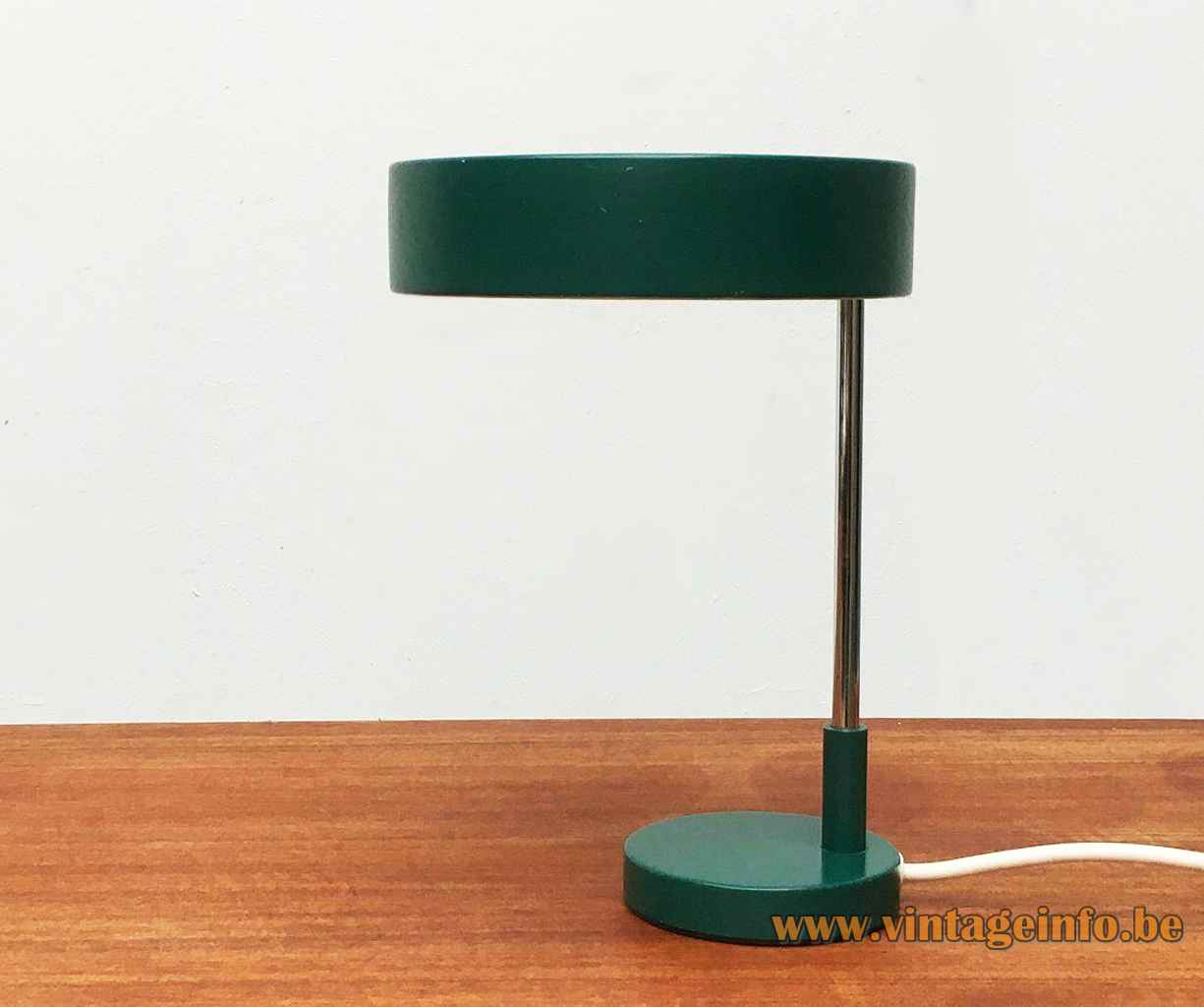 Kaiser Leuchten desk lamp 6890 design: Klaus Hempel round green base & lampshade chrome rod 1960s 1970s