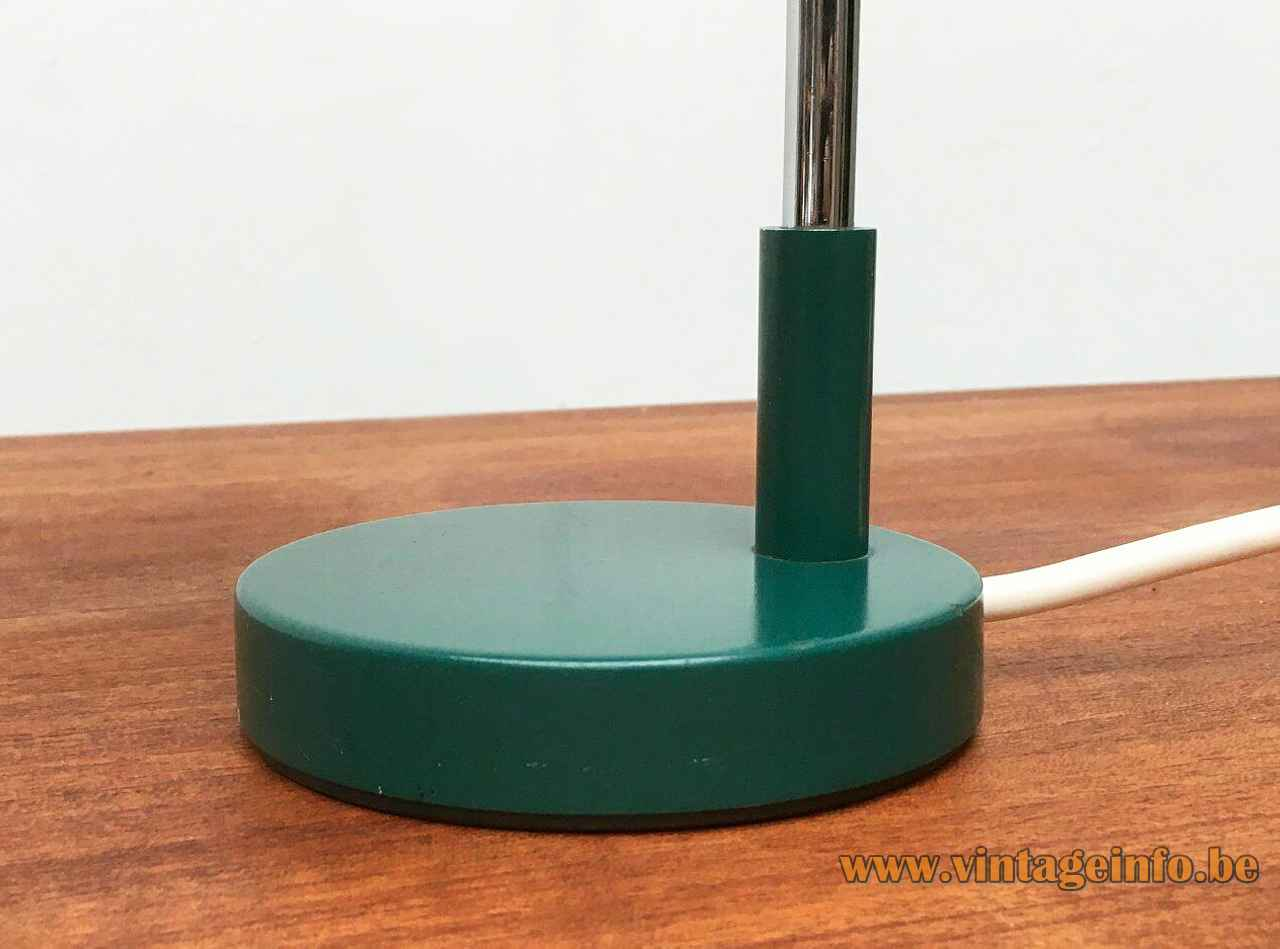 Kaiser Leuchten desk lamp 6890 design: Klaus Hempel round green metal base chrome rod 1960s 1970s Germany
