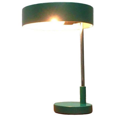 Kaiser Leuchten desk lamp 6890 design: Klaus Hempel round green base & lampshade chrome rod 1960s 1970s