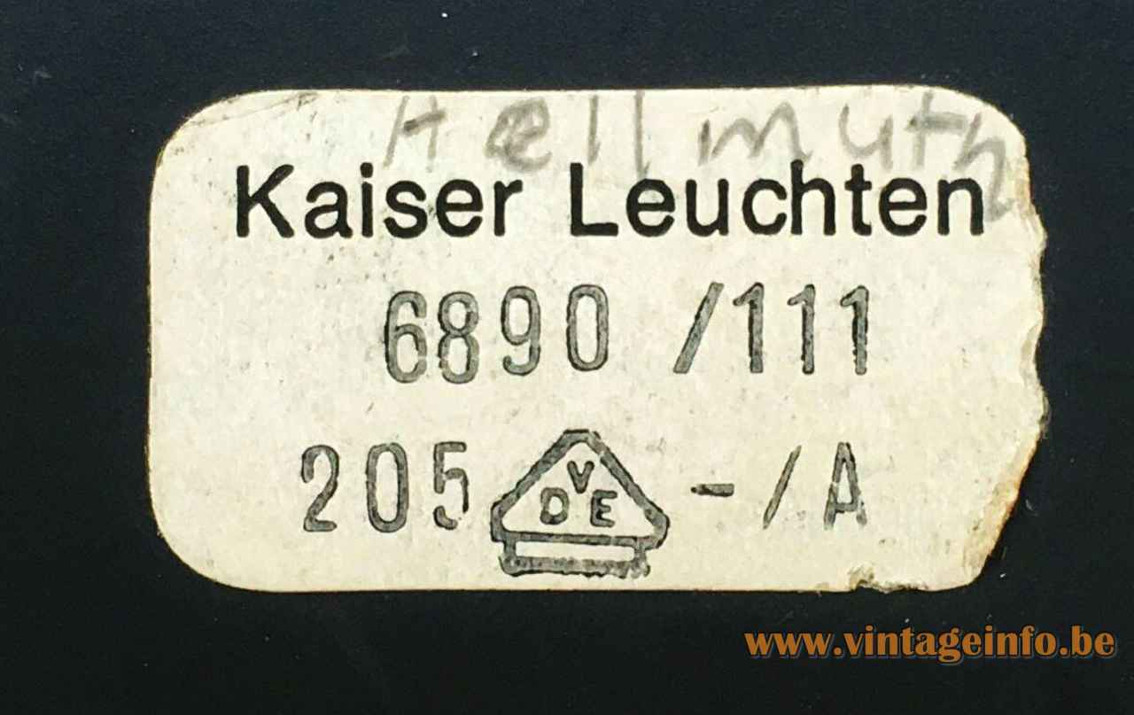 Kaiser Leuchten desk lamp 6890 design: Klaus Hempel 6890/111 paper label 1960s 1970s Germany