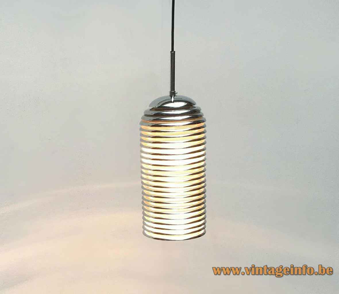 Kazuo Motozawa Saturno pendant lamp stacked chrome rings lampshade 1970 design Yamagiwa & Staff Leuchten Germany