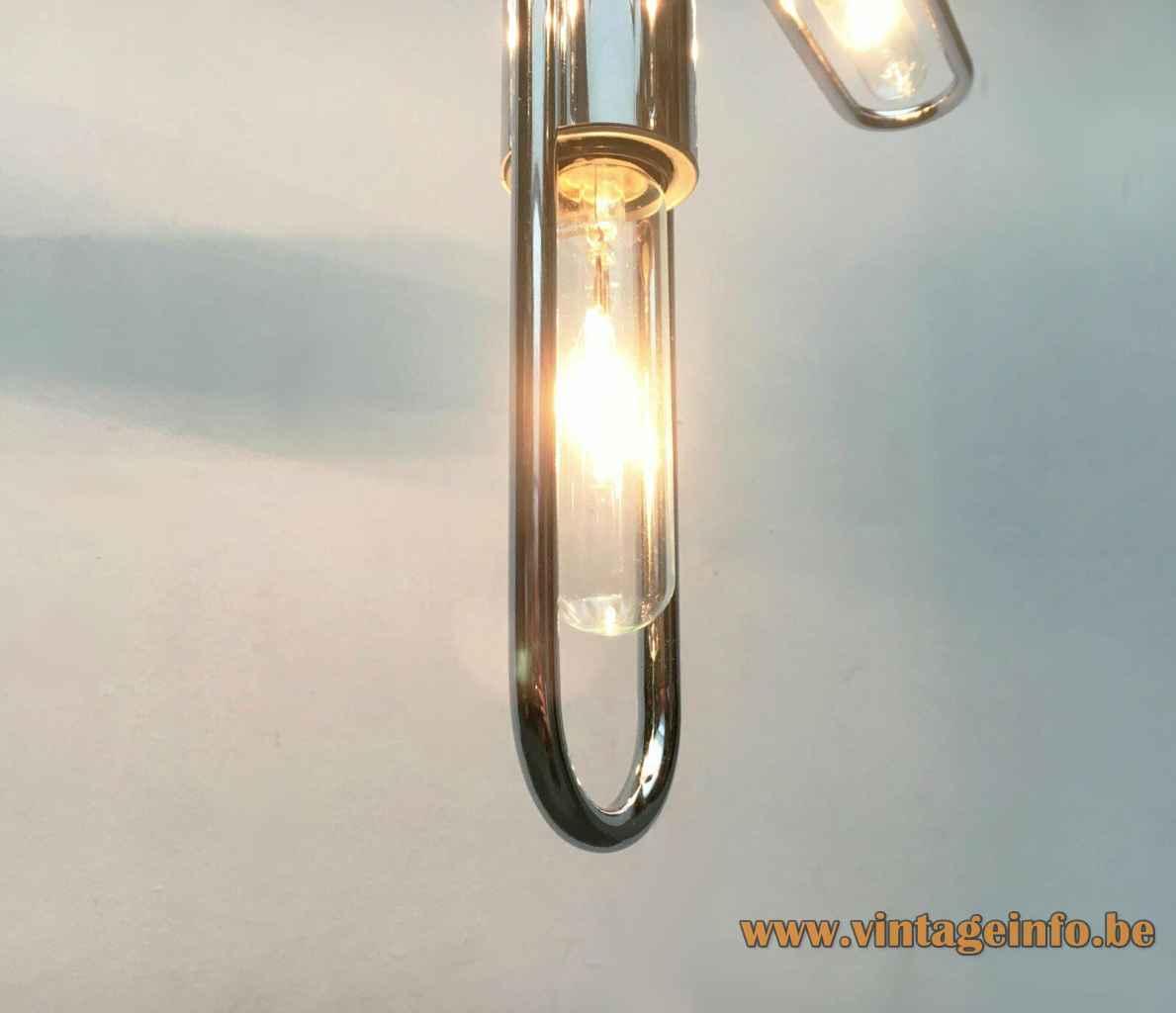 Kinkeldey chrome tubes chandelier curved metal rods 5 E14 light bulbs 1970s Germany Sputnik Space Age
