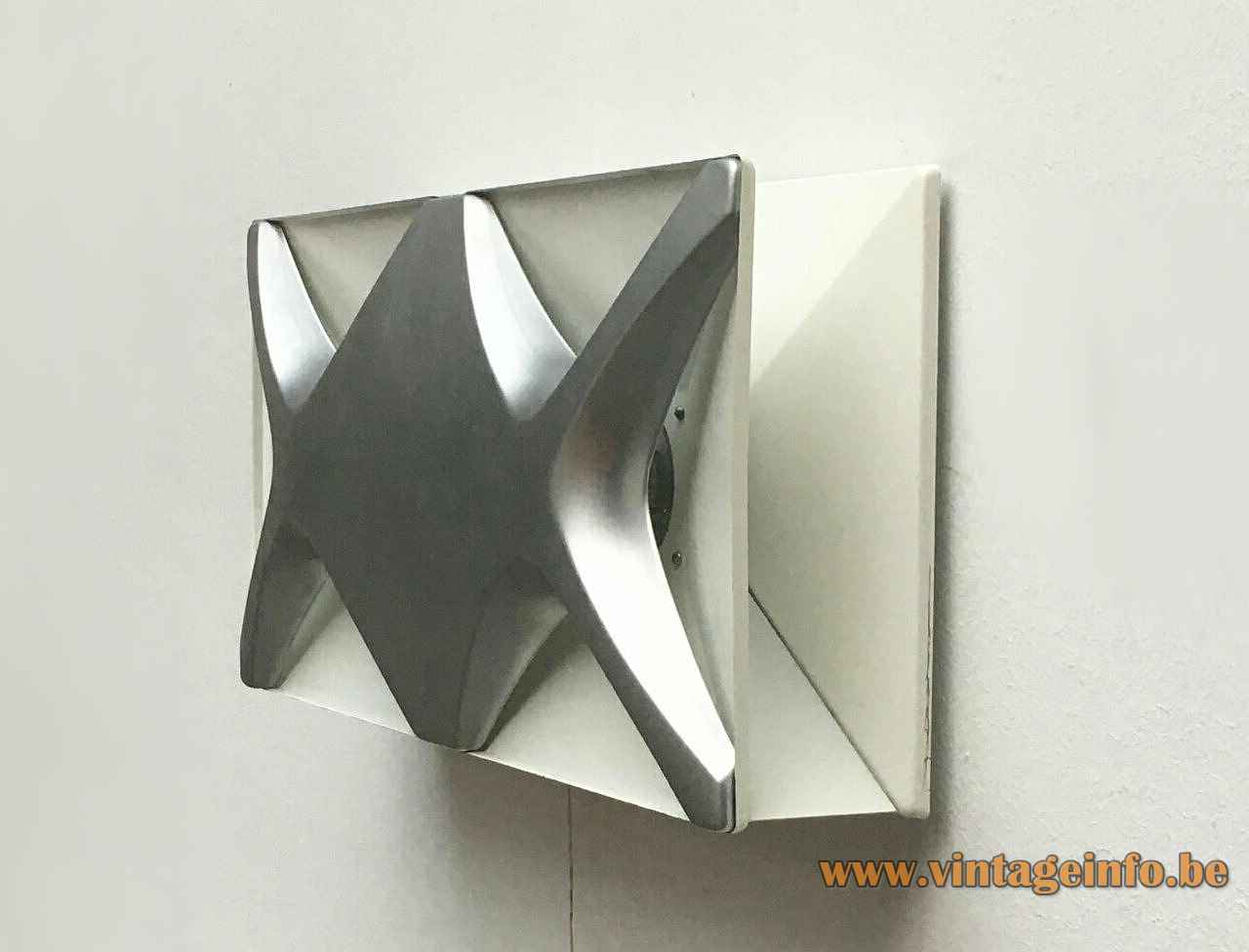 Klaus Link wall lamp rectangular silver grey metalic & white metal lampshade 1970s Heinz Neuhaus Leuchten Germany
