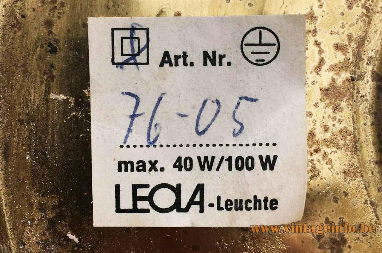 Leola brass flush mount 1970s design: Gaetano Sciolari paper Leola-Leuchte label Germany