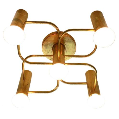 Leola brass flush mount 1970s design: Gaetano Sciolari 5 metal tubes curved rods Germany E14 sockets