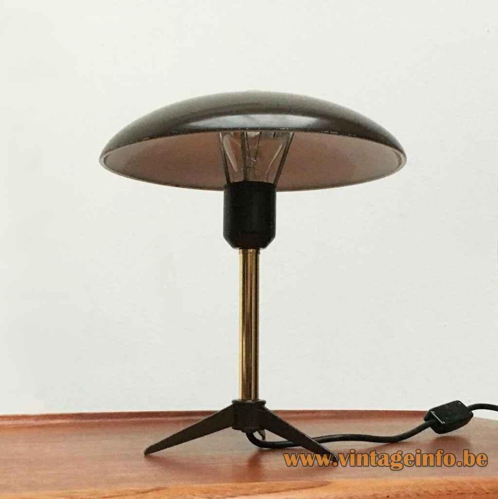Louis Kalff Minou desk lamp 1950s design tripod base straight rod mushroom lampshade 1960s Philips