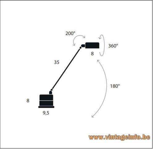 Lumina Daphinette Desk Lamp - 2020 Catalogue Picture - Dimensions