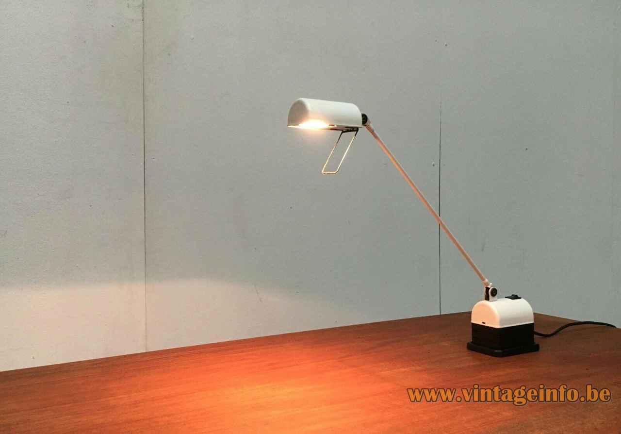 Lumina Daphinette desk lamp design: Tommaso Cimini transformer base long rod half round lampshade Italy 1970s