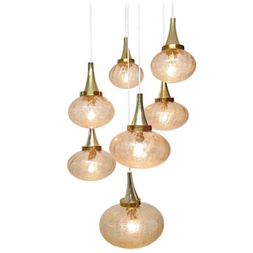 Oval crackle globes pendant chandelier brass spider 7 glass sphere cascading lampshades 1970s Hustadt-Leuchten Germany
