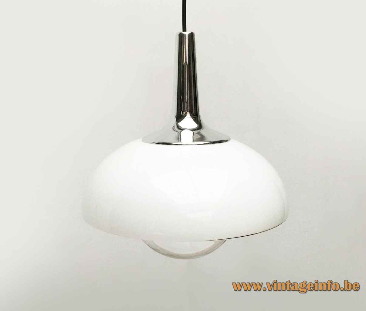 Peill + Putzler AH 140 pendant lamp clear & opals glass lampshade conical chrome 1970s Germany Lemon Press