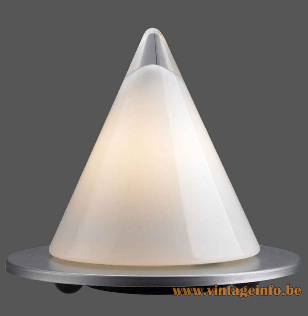 Peill + Putzler Dark 100 table lamp round titanium base opal pyramid glass lampshade Paul Neuhaus Germany