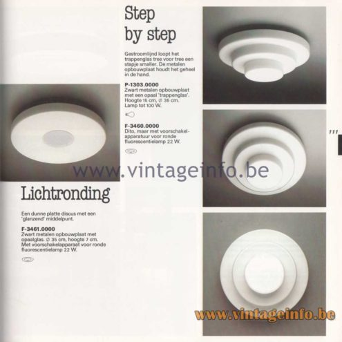 Raak - 1982 Lighting Catalogue - P-1303 Step By Step Wall Lamp - F-3461: Lichtronding