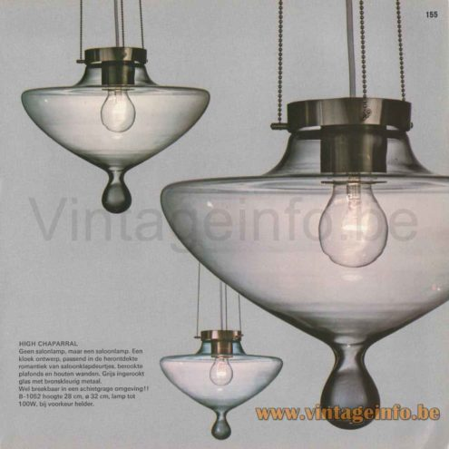 Raak High Chaparral Pendant Lamp - 1968 Catalogue Picture