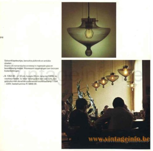 Raak High Chaparral Pendant Lamp - 1972 Catalogue Picture - Troubadour Pendant Lamp