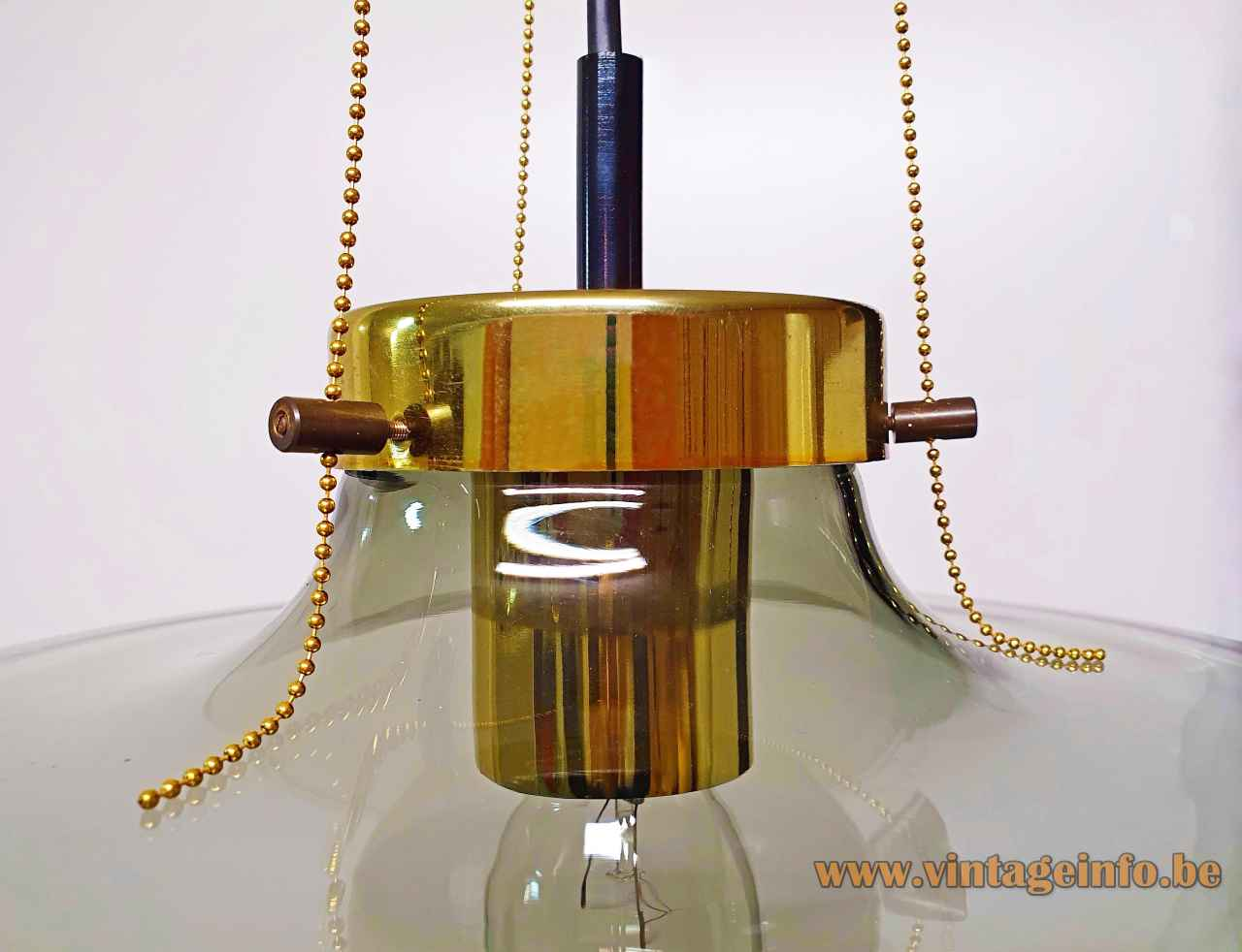 Raak High Chaparral pendant lamp droplet smoked glass lampshade pearl chains 1960s 1970s Netherlands E27 socket