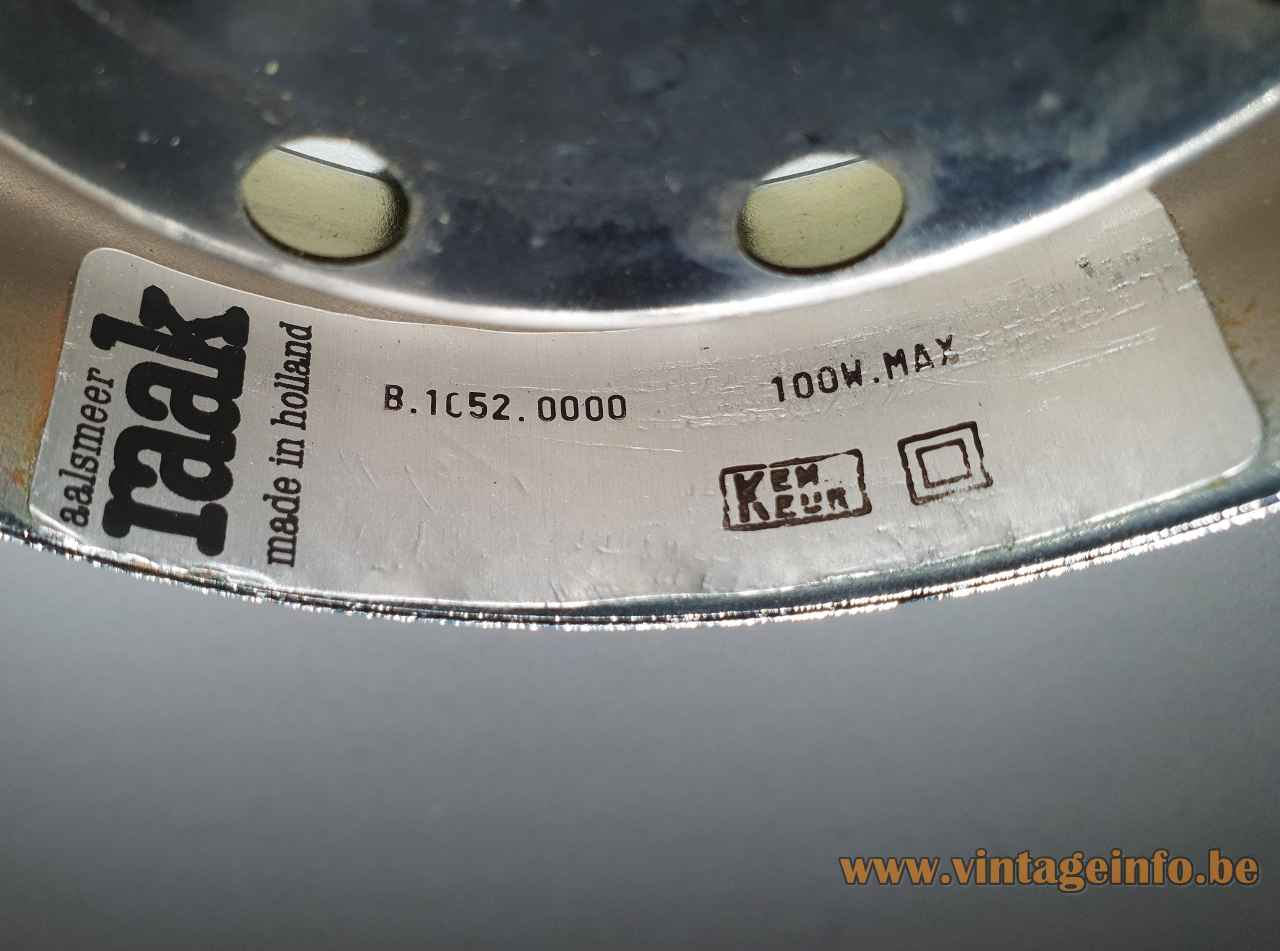 Raak High Chaparral pendant lamp B 1052 label 100 Watt maximum 1960s 1970s Netherlands E27 socket