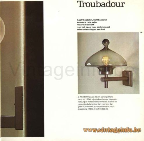 Raak High Chaparral Pendant Lamp - Troubadour Wall Lamp - 1972 Catalogue Picture