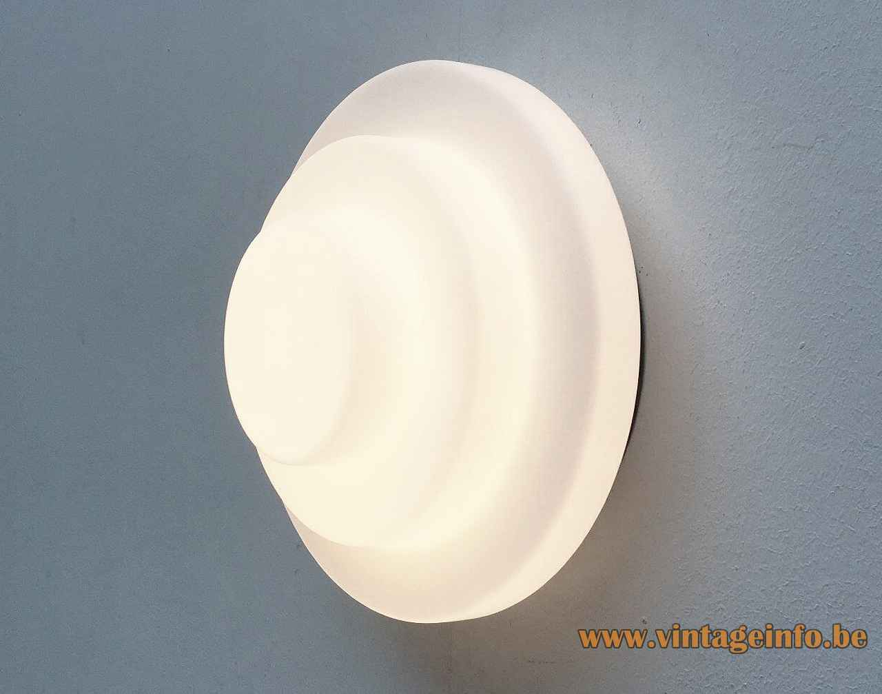 Raak Step By Step wall lamp flush mount round opal glass lampshade metal base 1980s E27 socket