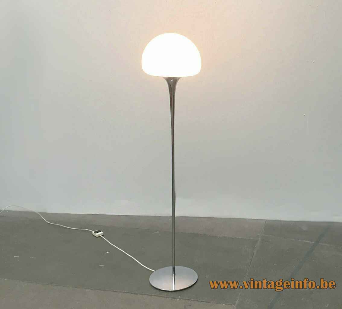 Reggiani half globe floor lamp round chrome base long rod opal glass lampshade 1960s 1970s Italy