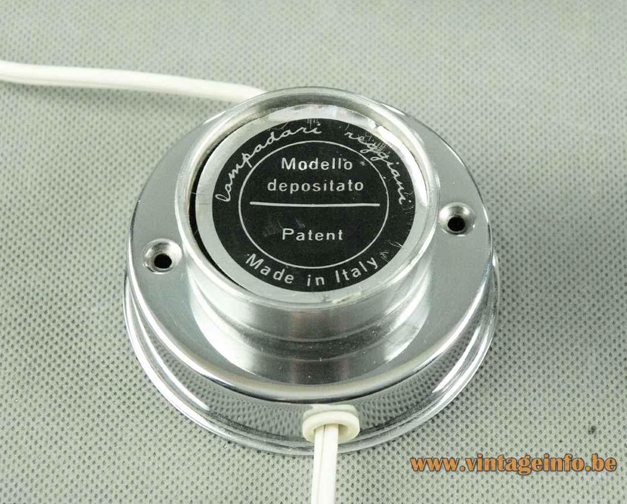 Reggiani magnetic globe lamp round metal base chrome sphere lampshade 1960s 1970s Italy E14 socket