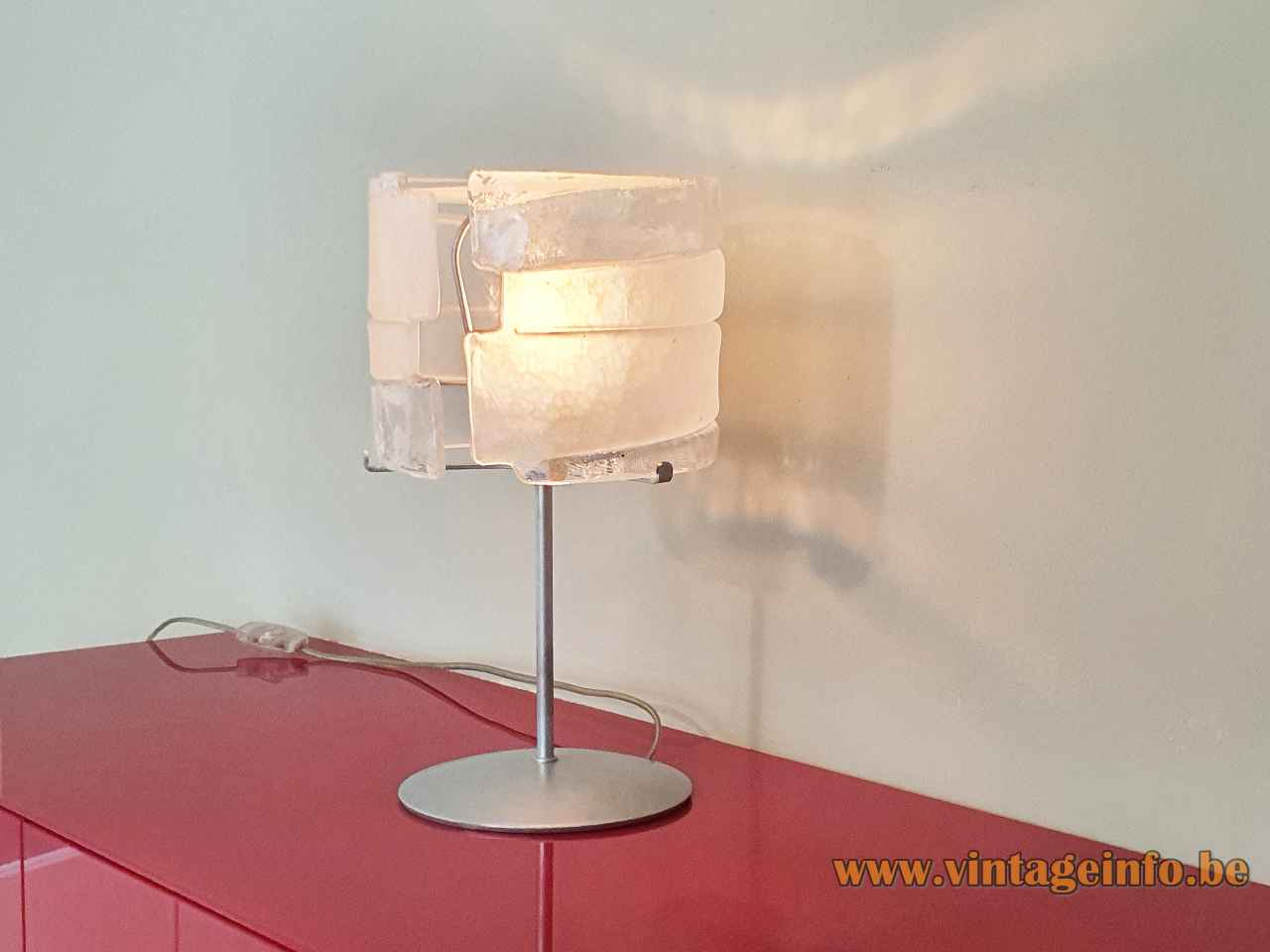 iflessi Murano table lamp round base hand blown clear & white glass lampshade 2000s AV Mazzega Italy