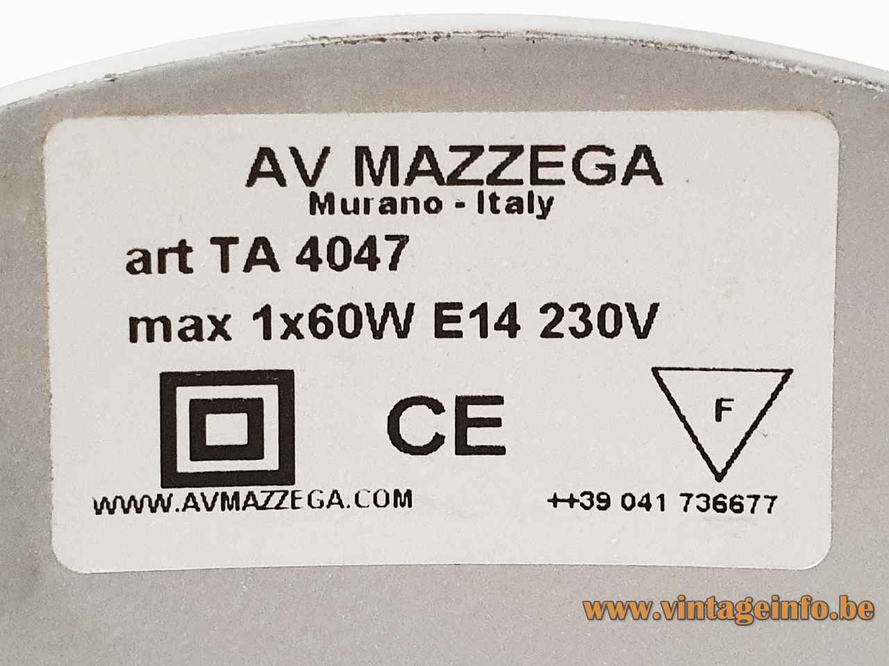 Riflessi Murano Table Lamp - AV Mazzega Label TA 4047